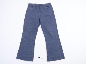 Vtg 70s Mens 34x29 Distressed Raw Denim Indigo Wash Flared Wide Leg Jeans USA