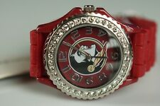 Watch - Women's FSU Florida State Deep Red Jewels Bling Watch Silicon Band