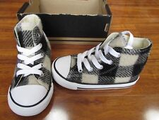 NEW Converse Woolrich Chuck Taylor AS HI Shoes Boys 10 White Black 760134F $40