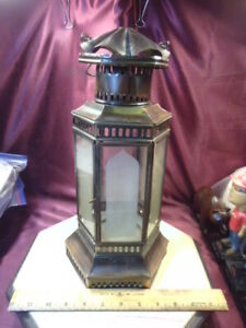 """14"""" T BRONZE/BROWN Lantern style candle holder-6 sided frosted glass design-F/Sh"""