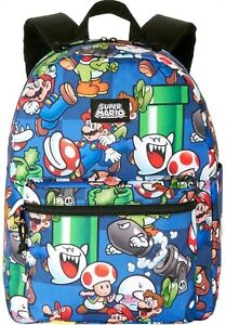 "Nintendo Super Mario Brothers 16"" Backpack School Supplies Book Bag NEW W/Tags"