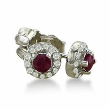 14K WHITE GOLD 1/3CT RUBY STUD EARRINGS WITH PAVE SET DIAMONDS