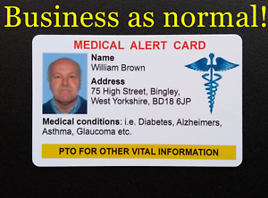 Personalised Medical Alert Card ICE In Case of Emergency DOUBLE SIDED & PHOTO