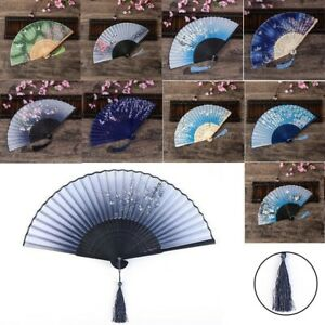 Vintage Chinese Folding Fan Silk Bamboo Hand Held Floral Fan Wedding Party Gifts