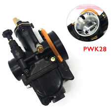 28mm Titanium Black Flat Slide Carburetor For Keihin Carb PWK Mikuni w/Power Jet