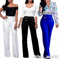 90d5756e Women Wide Leg Pants Button High Waisted Palazzo OL Work Loose Casual  Trousers