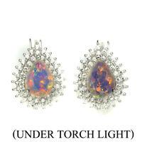 Pear Fire Opal Full Flash 8x6mm White Topaz 925 Sterling Silver Earrings