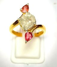 Rose Cut And Polki Diamond 925 Silver Tourmaline Gemstone Fine Quality Ring