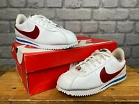NIKE CORTEZ WHITE BLUE RED LEATHER TRAINERS CHILDRENS GIRLS LADIES MANY SIZES T