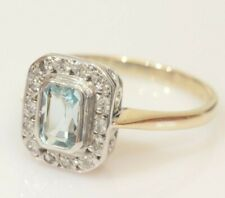 9ct Gold Aquamarine And Diamond Art Deco Style Cluster Ring Size O