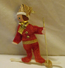 Vintage Skier Fuzzy Red & Gold Christmas Ornament Styrofoam Head Painted Face 5""