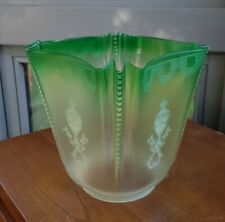 """Large Original crimped pleat Green Oil Lamp Shade acid crystal etched 4"""" fitter"""