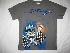 ED HARDY boys kids skull racer 5 6 gray t-shirt tee short sleeved top cotton NEW