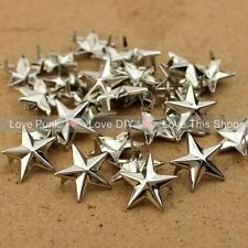 NEW 100pcs 15mm Silver Star Rivet Punk Bag Belt Leathercraft Bracelets Clothes