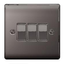 BG Nexus Metal NBN43 - BLACK NICKEL Chrome Triple Light Switch 3 Gang 2 Way