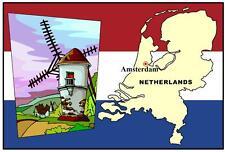 NETHERLANDS MAP & FLAG - NOVELTY - SOUVENIR FRIDGE MAGNET - BRAND NEW
