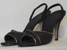 Black Fabric Gold Trimmed Open Toe High Heel Shoes Fanfare 9N Ankle Strap