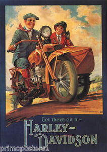 AMERICAN MOTORCYCLE  BIKE GET THERE ON A HARLEY DAVIDSON VINTAGE POSTER REPRO