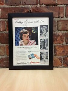 Framed Original Vintage Eve Shampoo Ad from Picture Post Magazine Oct 9, 1948