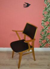 Vintage 60er Jahre chaise accoudoirs de POUR BUREAU TRAVAIL skai schwarz 1 4
