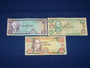 Lot of 3 Different Bank Notes from Jamaica