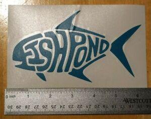 FISHPOND DIE CUT STICKER Fishpond 6 in x 3.5 in Aqua Fishing Decal