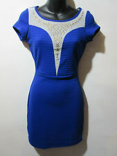 Dress Large Blue Sheer Accents Rhinestones Studs Body-con Stretchy NWT G307