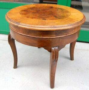 Tavolino in noce e radica diametro 55 cm