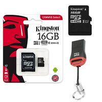 16GB MicroSD Speicherkarte Micro SDXC Kingston SD Adapter + USB Kartenleser