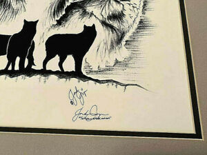 Superb Black & White Ink Lithograph by Canadian Native Artist, Signed & Numbered