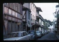 1963 kodachrome photo slide  Martinique #3 street scence   Cars