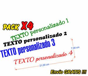 4 x Pegatinas Stickers Tuning Calcomanías texto personalizado en vinilo adhesivo