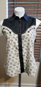Panhandle Slim Retro Western Wear Sleeveless Pearl Snap Shirt Womens Size M