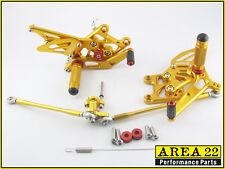 2007-2017 Honda CBR600RR Area 22 CNC Adjustable Rear Sets Footpegs Gold Rearsets