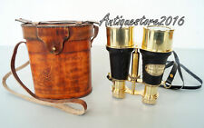 NAUTICAL MARINE BRASS BINOCULAR MADE FOR ROYAL NAVY LEATHER CASE Gift