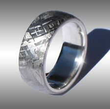 CUSTOM MADE REAL GIBEON METEORITE RING WEDDING BAND #037 IN STERLING SILVER!