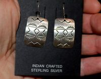 Vintage Handmade Curtis Billie Navajo Hand Stamped Sterling Silver Earrings #3