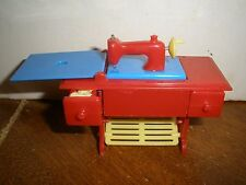 Vintage Renwal Dollhouse Furniture Treadle Sewing Machine Red Blue Yellow #89