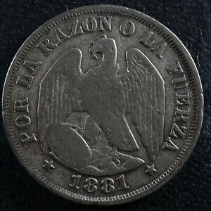 20 centavos 1881 So Chile KM#138.2 Silver c Chili