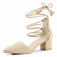 Allegra K Women's Pointed Toe D'Orsay Block Heels Lace Up Pumps