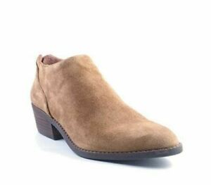 New In Box Womens Lucky Brand Fai Back Zip Tapenade Tan Suede Ankle Booties