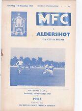 1969/70 Margate v Aldershot (Fa Cup) football programme