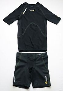 Skins Compression A400 Set Power Shorts mens Short Sleeve top size S Small black