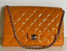 Authentic Chanel CC Logo Medium Orange Patent Leather Silver Hardware Bag