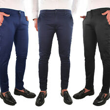 Pantalone Uomo Cotone Chino Jeans Estivo Casual Elegante Tasche America Leggero
