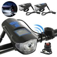 Fahrradlampe LED Fahrradbeleuchtung Fahrradrücklicht+ Horn& Kilometerzähler USB