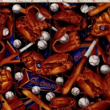 Sports Fabric - Baseball Glove Bat Toss on Black - Oasis YARD