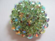 "BEAUTIFUL GREEN VINTAGE AURORA BOREALIS CRYSTAL BROOCH 1.5"" DIAMETER N129"