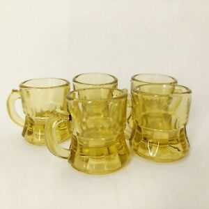 Vintage Shot Glasses Set of 5 Glass Amber / Yellow Beer Mug Style Shot Glasses