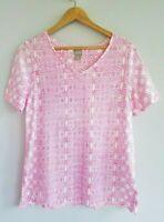 Chico's Women's 1/Medium Pink White Short Sleeve V-Neck Knit T-Shirt Top
